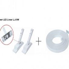 """Натяжной светильник. Комплект - крепление светильника и стальная лента """"ЛЕД ЛАЙНЕР"""" белого цвета."""